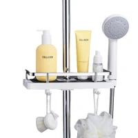 bathroom organizer shower storage holder rack shelf shampoo tray shelve stand no drilling floating shelf for wall household item