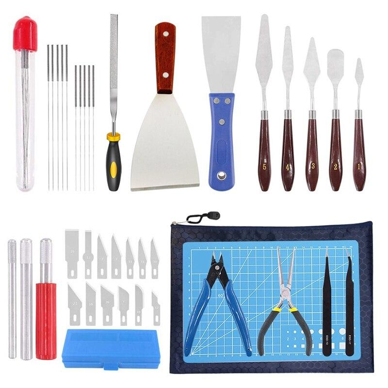 ملحقات طابعة ثلاثية الأبعاد ، مجموعة أدوات ، مكشطة ، حصائر تقطيع وأدوات طباعة ثلاثية الأبعاد أخرى ، يمكن استخدامها لإزالة وتنظيف