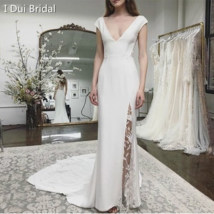Plunge V Neckline Wedding Dress with Slits Leg Sheath Crepe Lace Elegant Bridal Gown