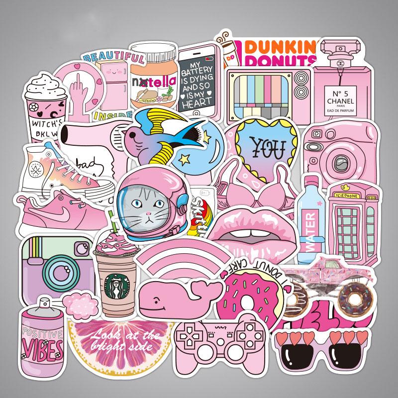Paquete de Pegatinas rosa de 50 Uds., pegatina de dibujos animados para regalo de niñas, Pegatinas impermeables para maleta DIY, calcomanías de equipaje para bicicleta y coche para ordenador portátil