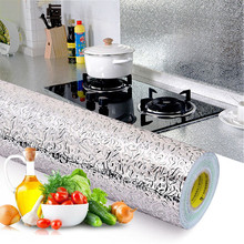 1/2/3/4/5M pegatinas impermeables a prueba de aceite para cocina, papel de aluminio para cocina, armario autoadhesivo, adhesivo para pared, papel tapiz DIY
