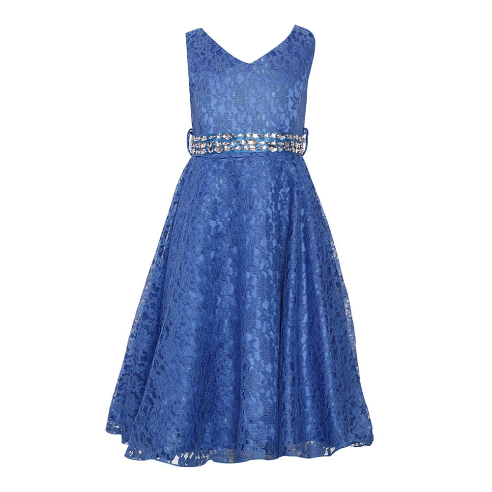Summer Girls Lace Flower Dress with Artifical Diamond Belt O-Neck Performance Birthday Party Solid Color Princess Dresses