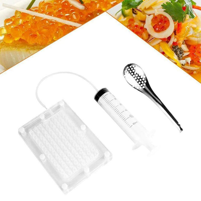 Conjunto de caviar de aço inoxidável 100-hole maker molecular gourmet buracos gadgets equipamento de cozinha ferramentas de cozinha cozinhar decoração ferramentas