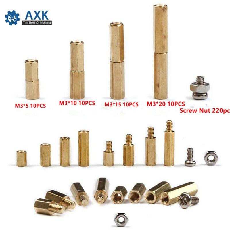 Купить с кэшбэком Nut Fastener Tool Set Brass Copper 300 Pcs Stand Hex Socket Screws M3 Electrical Pan M3 Pillar Off Sex Column Spacer Crew For