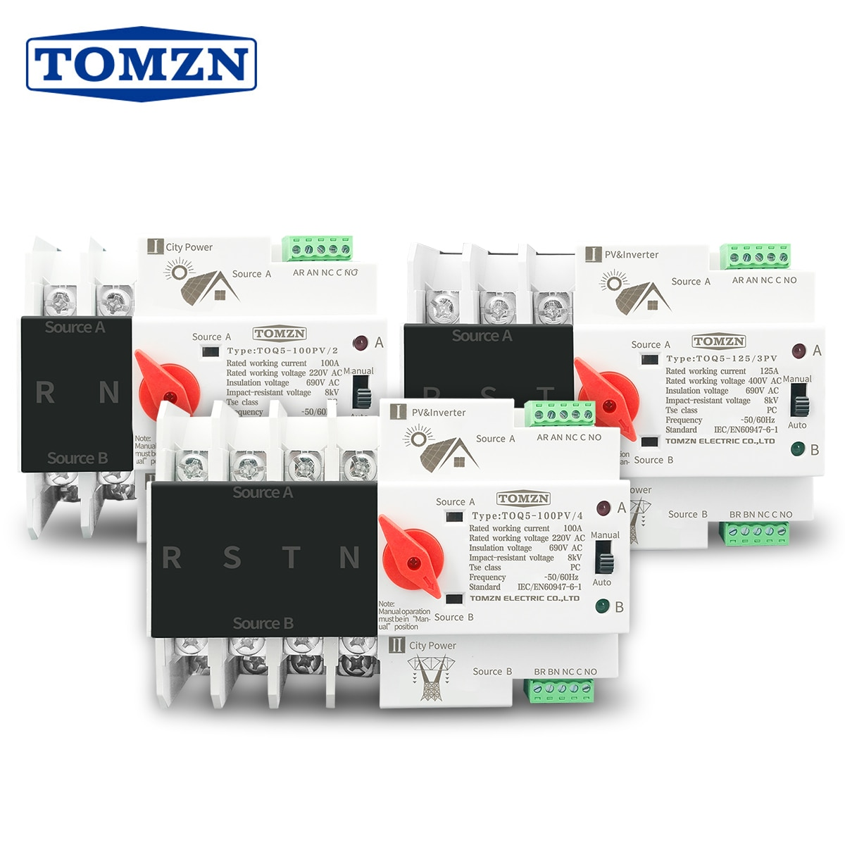 2P 3P 4P carril Din ATS para PV inversor Doble potencia de transferencia automática interruptores selectores ininterrumpida 63A 100A 125A