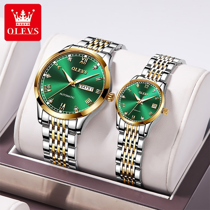 OLEVS New Fashion Casual Waterproof Luminous Pointer Automatic Machinery Watches Couple High Quality Stainless Steel Strap 6602