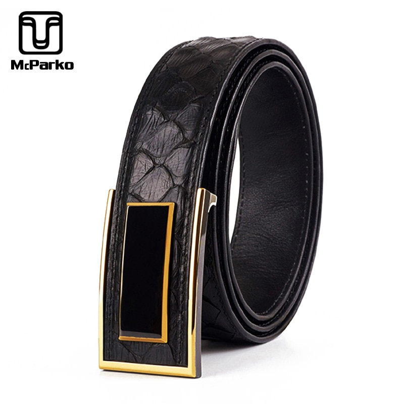 Cinturón de pitón McParko cinturón de cuero genuino para hombre diseño Original de cerámica de lujo hebilla cinturones de cintura para trajes elegante regalo de hombre