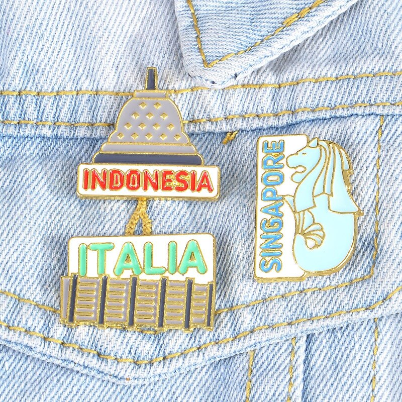 ¡Oferta! Broche de dibujos animados, edificio emblemático creativo de Singapur, Indonesia, mochila emblemática, insignia de ropa, Pin de joyería, regalo de alta calidad