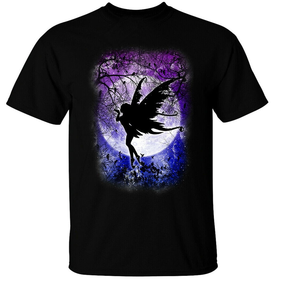 Fairy Moon T-Shirt Mens Gothic Fantasy Woodland Night Stars Cute Creature Goth Newest Fashion Tee Shirt