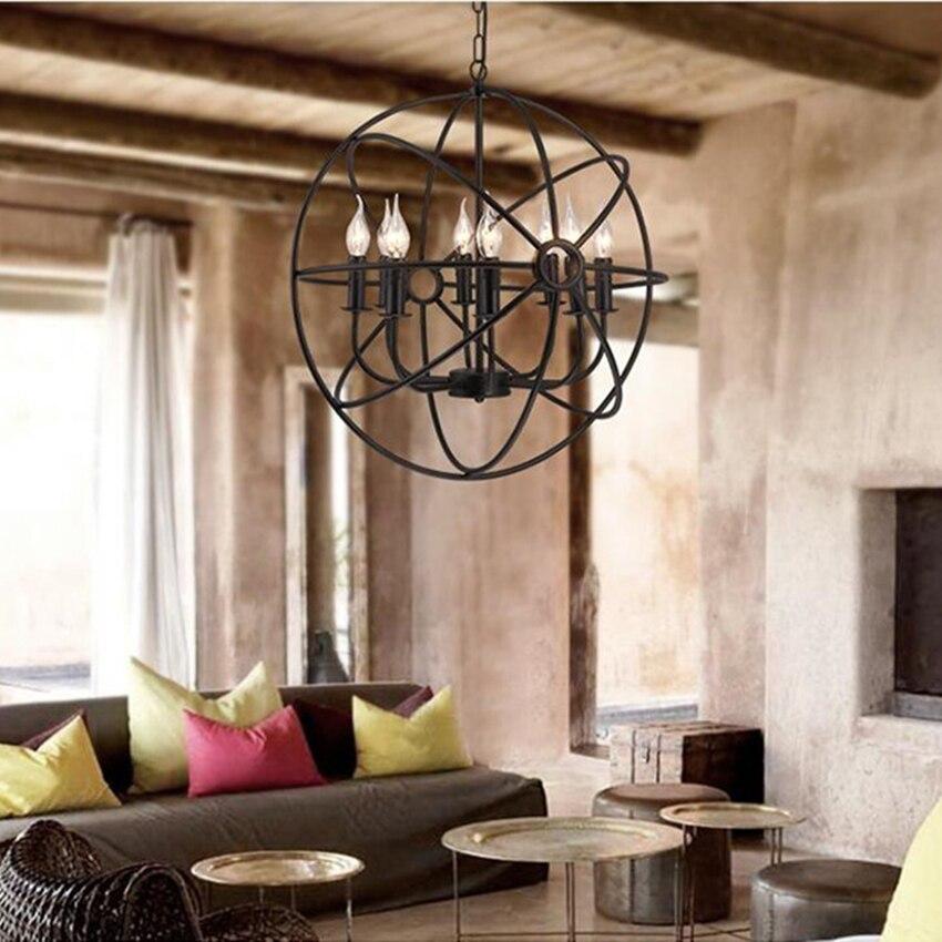 Lámpara de decoración, iluminación nórdica, luz de techo, lámpara colgante para el cuerpo, sala de estar, dormitorio, hierro forjado, LED Retro de estilo americano