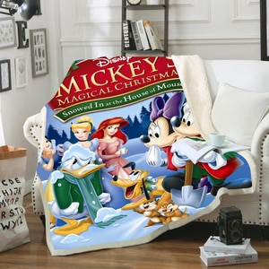 mickey Red Fleece Sherpa Blanket Fashion Throw Blanket Adult New Year Gift Christmas Travel Party Decoration Bedspread Drop Ship