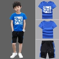 summer boys clothes set kids short sleeve t shirt pants 2pcs boy sports suit children clothing outfits teen 4 6 8 9 10 12 years