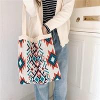 thailand classic canvas bag girls wool knitting bag cotton cloth women shoulder bag lovely student handbag lady messenger bag