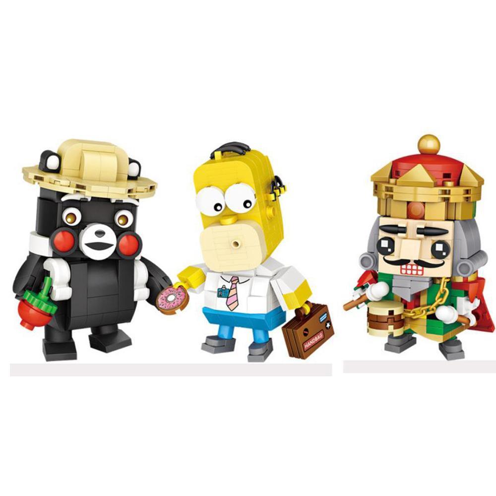hot lepiniong classic creators cartoon big head Kumamon black bear nutcracker king Mr. Simpson mini micro block bricks toys gift