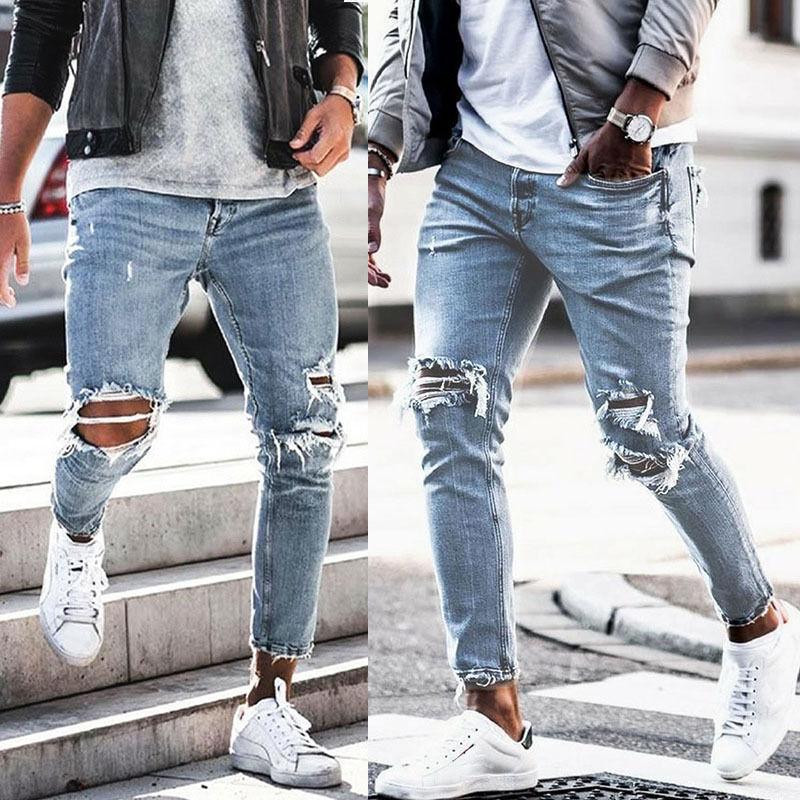 Осень 2020, мужские рваные джинсы, обтягивающие джинсы, уличная одежда, рваные джинсы, мужские джинсы, синие мешковатые джинсы, джинсы-каранда...