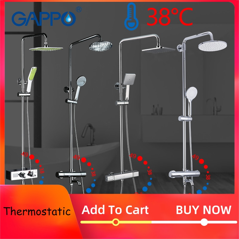 GAPPO Shower System bathroom thermostatic shower faucet bath shower mixer tap set waterfall bathtub faucet rain shower head set black shower set luxurious bath system large rain waterfall concealed led shower head 600x800mm with thermostatic shower faucets
