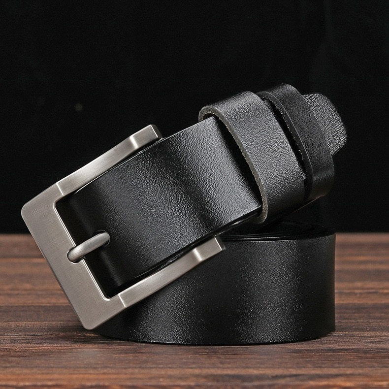 2021 Business Plus Size Belts for Men 130 140 150cm Vintage Metal Alloy Pin Buckle Real Cowskin Genu