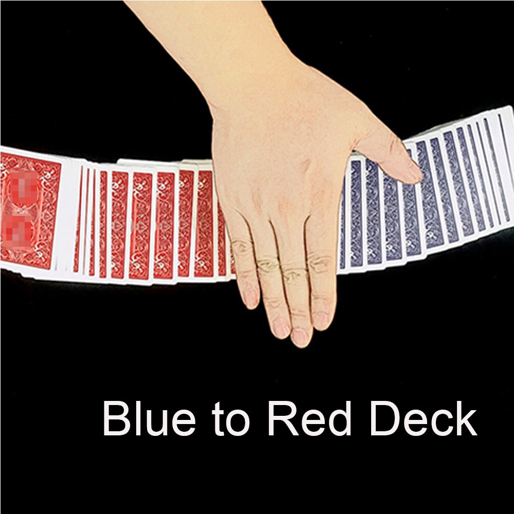 Blue to Red Deck Magic Tricks Close up Magia Blue Cards Turn Red Magie Playing Card Appearing Magica Illusion Gimmick Props digital dissolve morgan version magic tricks stage close up magie coin visually change magie gimmick props trucos de magia