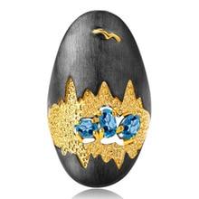 Bohême Vintage bleu cristal anneau de déclaration couleur noire drôle paysage peinture anneaux de mariage pour les femmes fête cadeaux bijoux