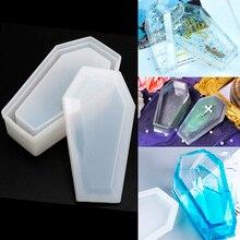 7.5X12.5CM cristal époxy moule cercueil boîte de rangement moule Silicone foncé miroir boîte de rangement époxy résine moule artisanat
