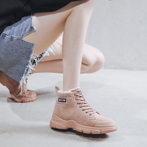 Women Boots 2020 Winter Warm British Wind Round Toe Mid-heel Thick with Short Boots High-top Motorcycle Martin Platform Shoes