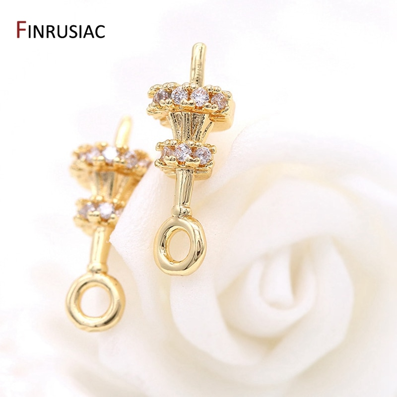 AliExpress - Luxury Jewelry Findings Inlaid Zircon 14k Gold Bead Holder Charms Decorative Pearl Bail Accessory Jewelry Making Craft