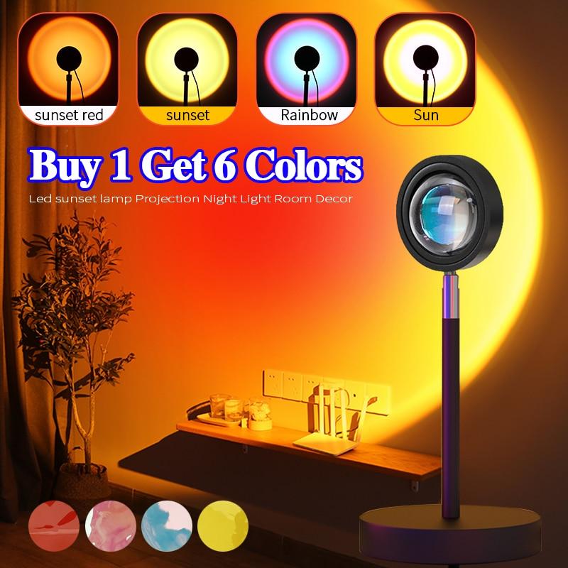 Rainbow Sunset Lamp Projector Night Light Sunset Projection Led Desk Lamp for Bedroom Atmosphere Rainbow Lamp Decoration Light