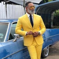 lorie yellow formal men suit prom party tuxedos two button blazers two pieces grooms wedding suits custom made plus size 2020
