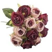 Tetes de roses rouges artificielles 1 Bouquet   Bouquet de mariage en soie  pour mariage  fete danniversaire  saint-valentin  decoration pour la maison  12 pieces