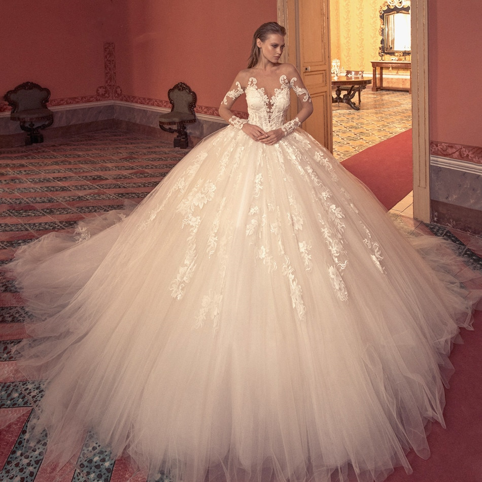 Ball Gown Wedding Dress 2022 Long Sleeve Bridal Luxury Beaded Appliques Illusion Cathedral Princess Bride Dresses