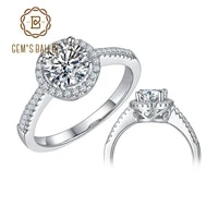 gems ballet round halo engagement rings for women 1ct vvs1 moissanite diamond 925 sterling silver twinkle stone ring jewelry