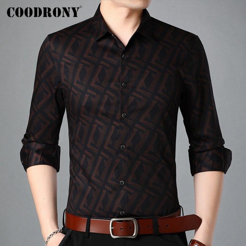 Marca COODRONY Camisa de manga larga para Hombre Ropa primavera moda Otoño Plaid patrón camisas negocios Casual Camisa Masculina C6011