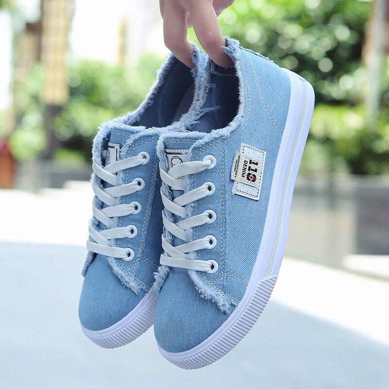 ¡Novedad de 2020! Zapatos de lona para mujer, zapatillas de deporte con cordones para Primavera/otoño para niñas, zapatillas informales de moda vaquera de color liso azul/blanco