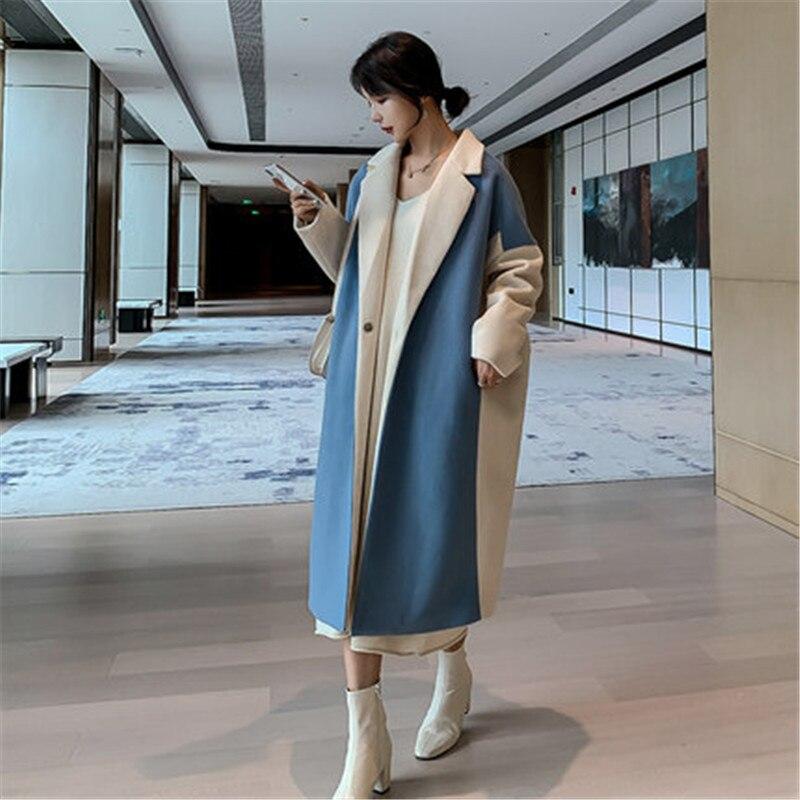 Fashion Woolen Coat female 2020 Autumn Winter Jackets new Long Korean Loose Wool Coats For Women Overcoats V1121