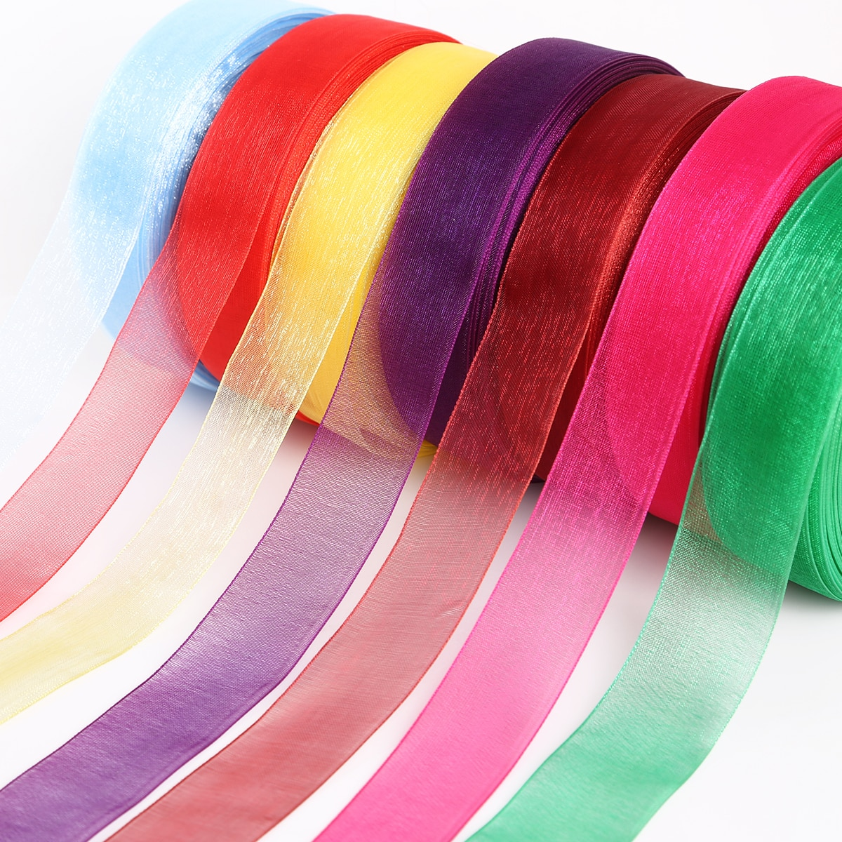 50 yardas/bolsa de ancho 25mm Organza cinta cincha para boda fiesta decoración del hogar regalo embalaje arte de colección de recortes