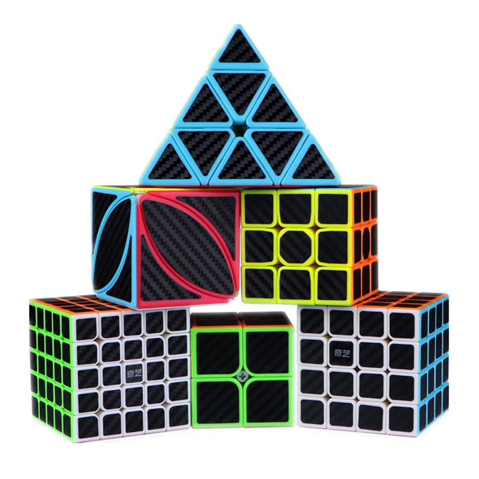 Juego de 12 tipos de cubos QIYI 2x2 3x3 4x4 5x5 eje de molino Fisher SQ1 pirámide hoja de arce X madeja fibra de carbono pegatina velocidad cubo mágico