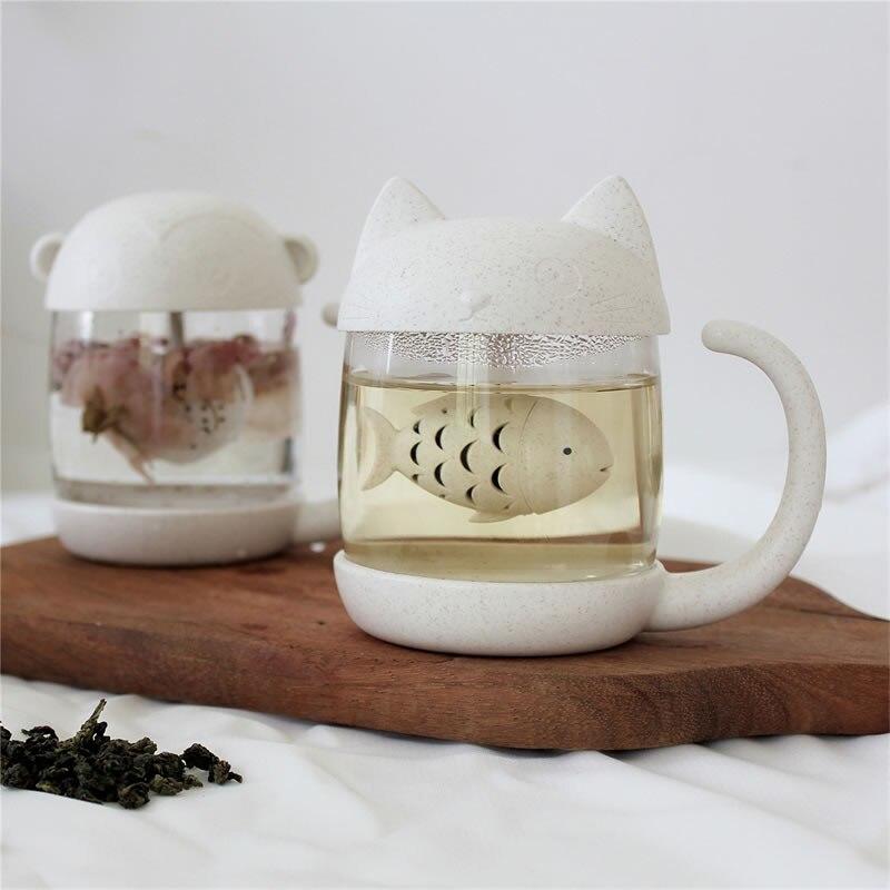 300ml lindo gato de té de vidrio taza de taza con dibujo de mono con pescado Infusor de té en forma de corazón colador de filtro y la tapa de la taza de café para oficinas