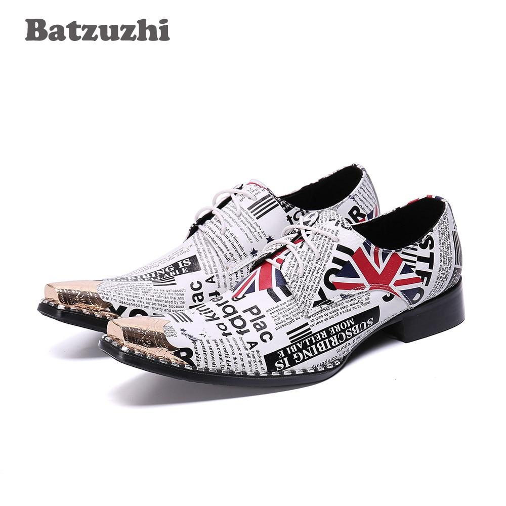 Batzuzhi-أحذية إيطالية مصنوعة يدويًا للرجال ، أحذية جلدية ذات طرف معدني مدبب ، أحذية حفلات Erkek Ayakkabi