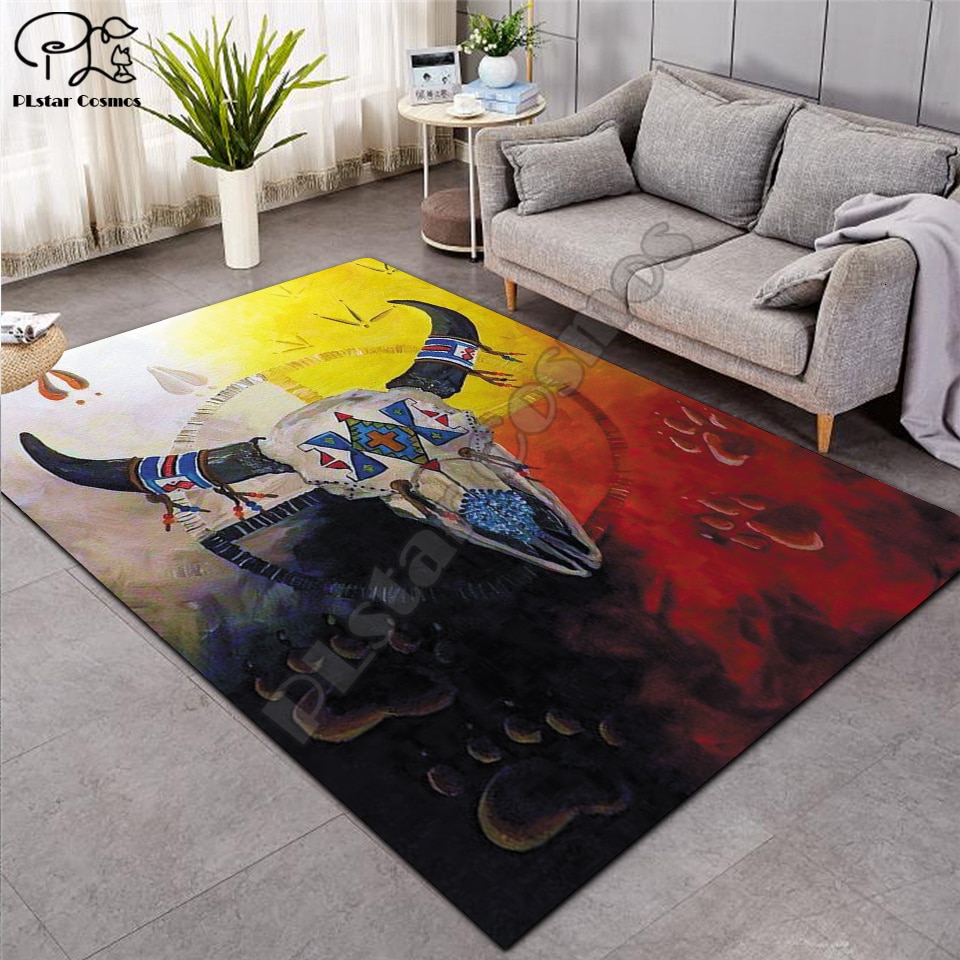 Alfombras negras nativas indias Lakota Skull buffalo soldier alfombras Franela suave 3D alfombras con estampados impresos tapetes alfombras antideslizantes alfombra grande-1