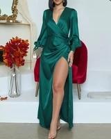 2020 new fashion elegant sexy deep v party club long dress formal dress long sleeve high slit wrap maxi dress
