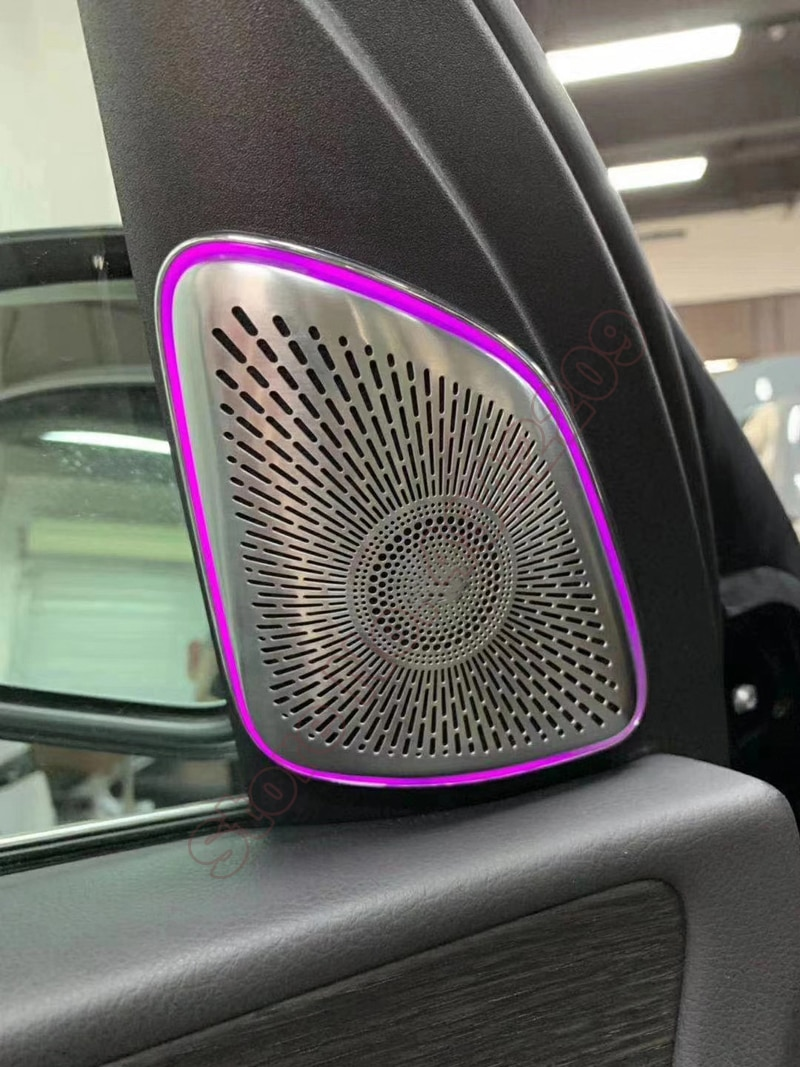 64-color لبنز GLE W167 GLS X167 GLE350 GLE450 LED متزامن الأصلي سيارة مكبر الصوت المحيطة غطاء خفيف ألتو لوحة مضيئة