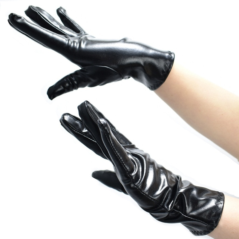 Sexy negro Finger Mittens brillante metálico Unisex Spandex corto guantes de noche Fancy Flapper guantes de fiesta de muñeca