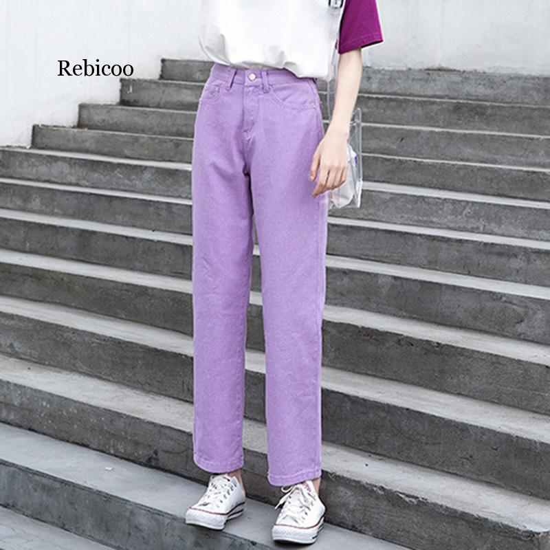 Morado Jeans Mujer de talla grande negro Beige verde mamá Jeans alta cintura novio Jeans mujeres recta Casual algodón pantalones largos