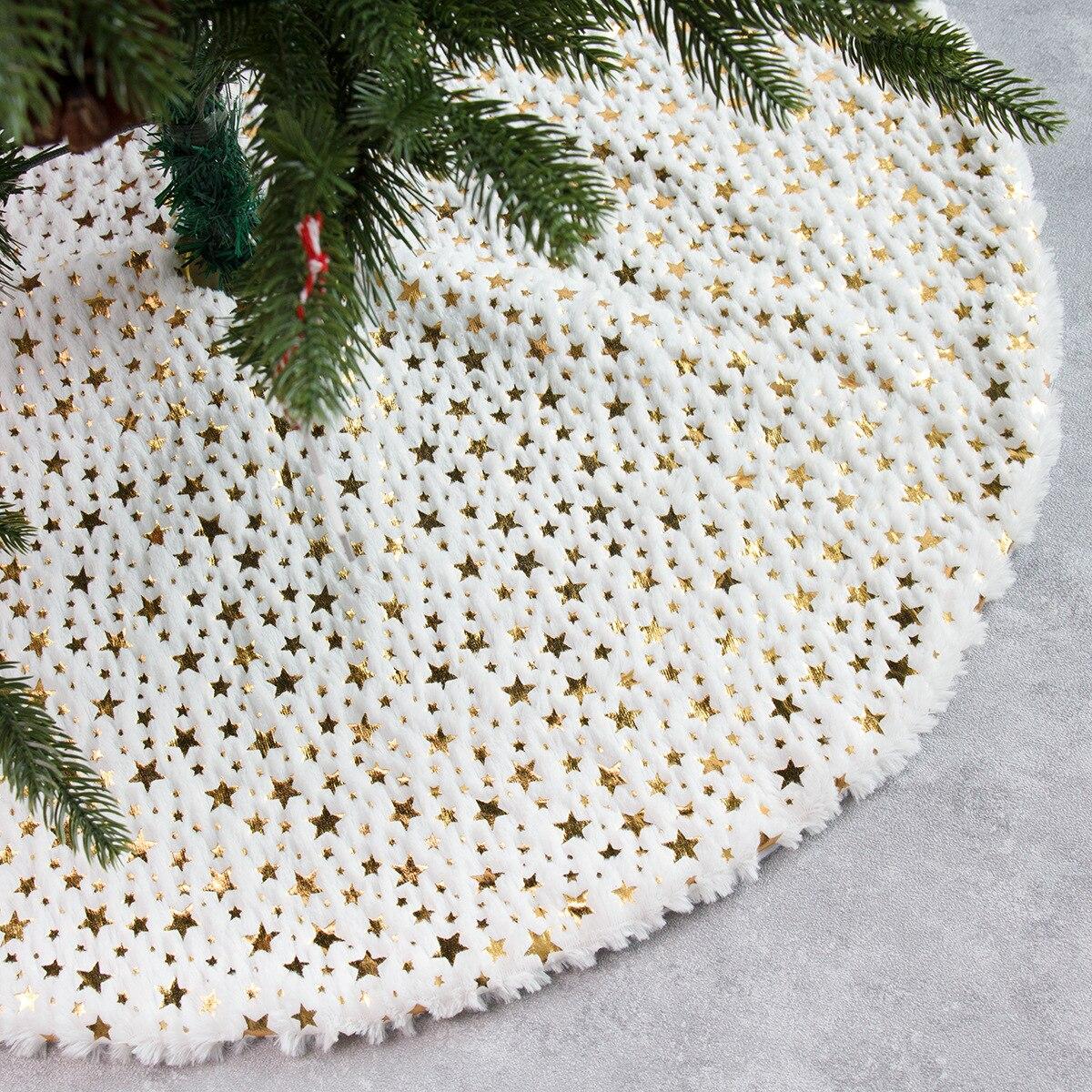 Falda De árbol De peluche con estampado De estrellas De Navidad, decoración...