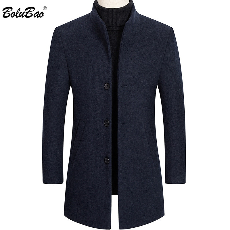 بالطو رجالي ، معطف صوف ، ملابس مريحة ، رجالي, معطف رجالي صوف ماركة BOLUBAO مناسب لفصل الشتاء لون ثابت