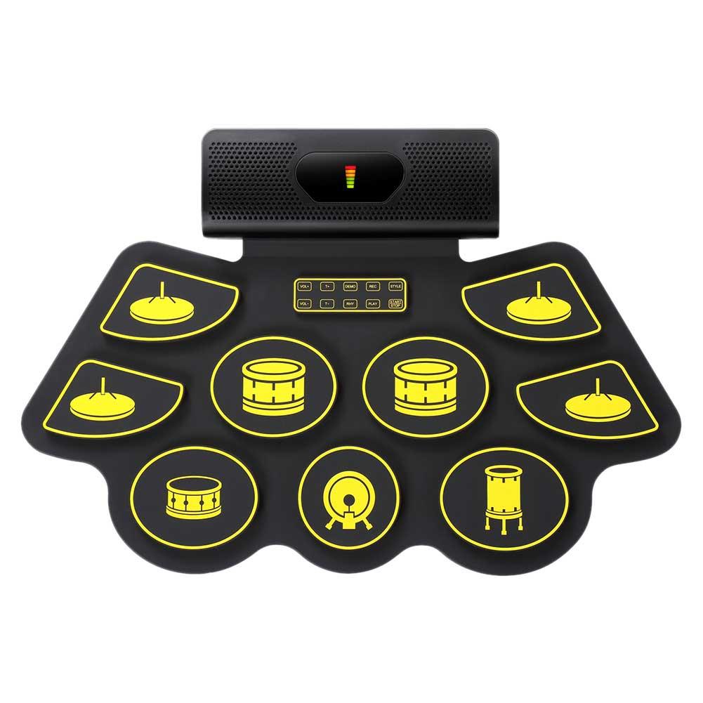 Pedales portátiles enrolladas para niños, adultos, regalo de cumpleaños, pedales con Bluetooth para grabación, juego de batería electrónica integrado en la almohadilla de práctica del altavoz