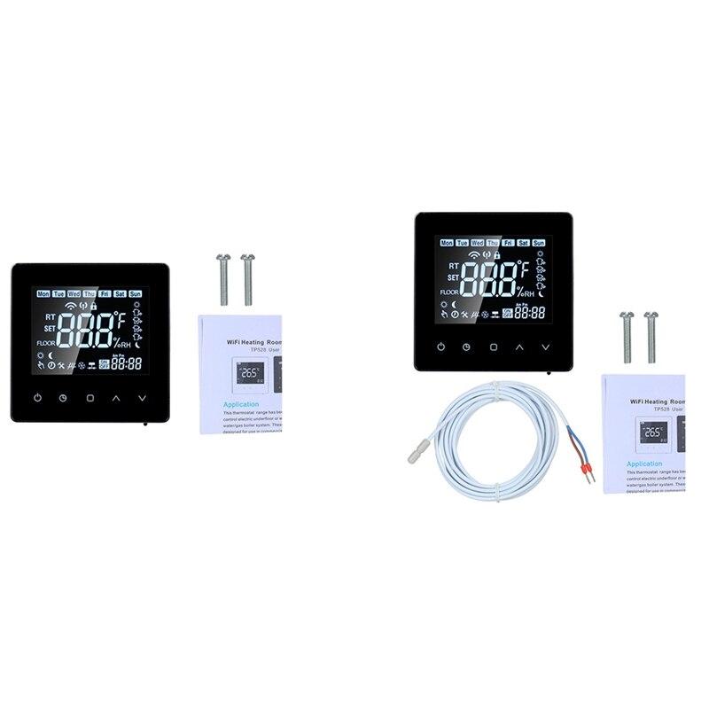 LCD تعمل باللمس للبرمجة واي فاي ترموستات 16A الرقمية أداة التحكم في درجة الحرارة مزودة بمؤقت واي فاي التدفئة الكهربائية للمنزل