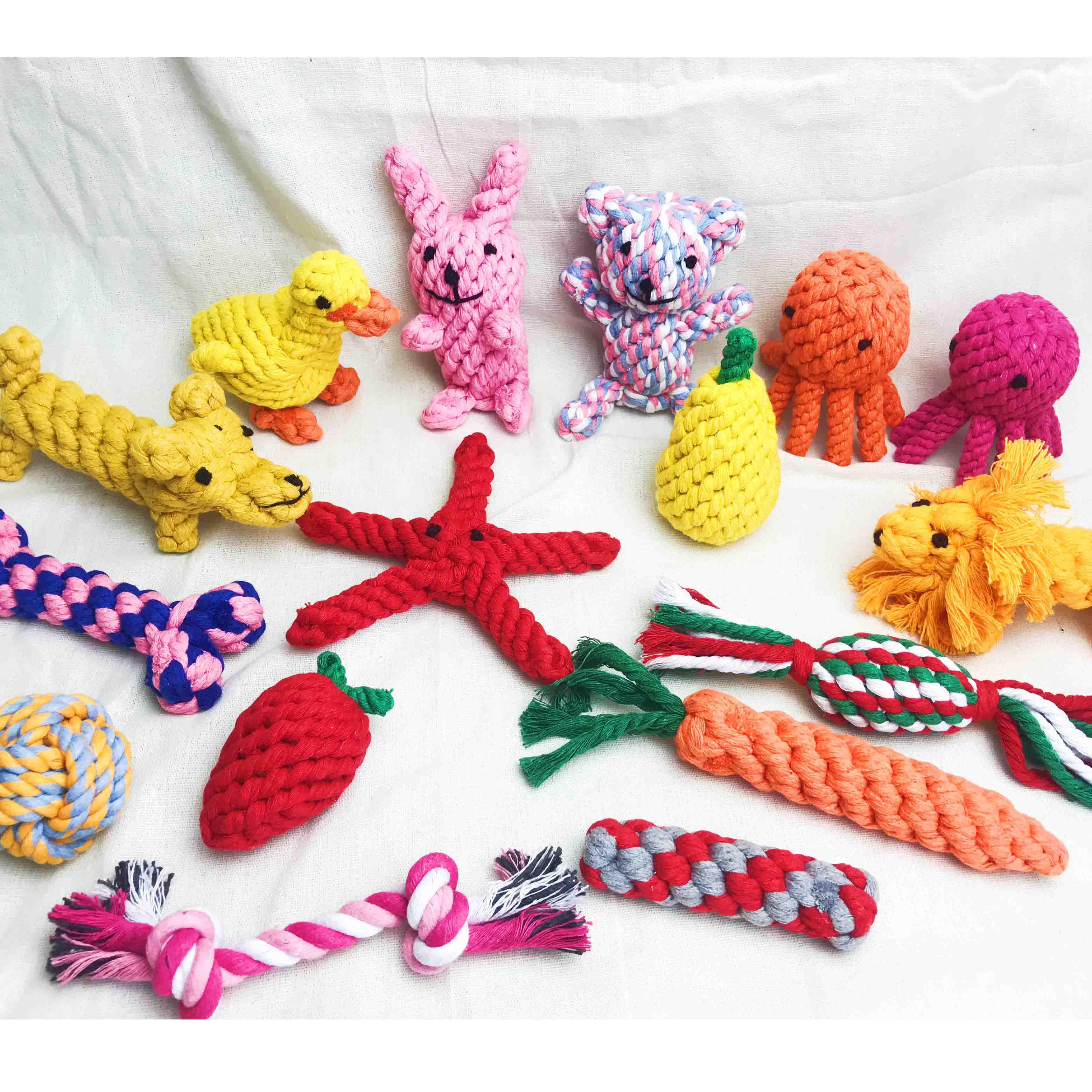Juguetes Para Mascotas morder masticar, juguetes interactivos para perros, mascotas, cuerdas de algodón, nudo de juguete para perro, Limpieza de dientes, Molar, cachorro de juguete