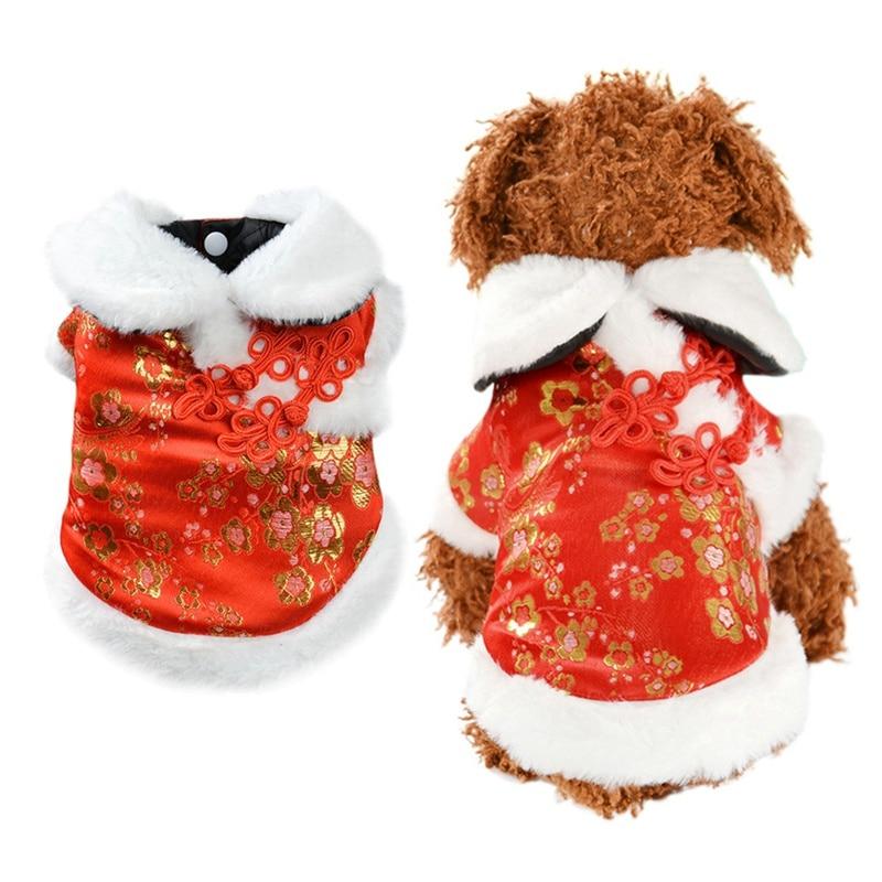 Ropa para mascotas perro estilo chino invierno chaqueta de abrigo de lana caliente para perro pequeño mediano abrigo para cachorro Bulldog Francés