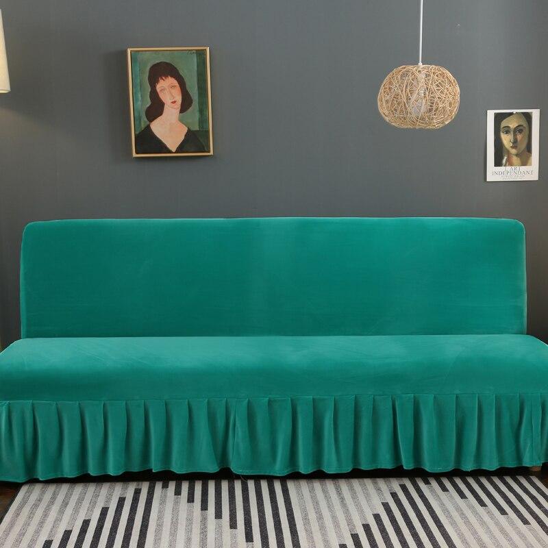 1 قطعة أريكة السرير غطاء دون مسند ذراع تمتد مرونة غطاء كامل أريكة يغطي الأخضر ألوان مكافحة القذرة غرفة المعيشة أريكة السرير غطاء